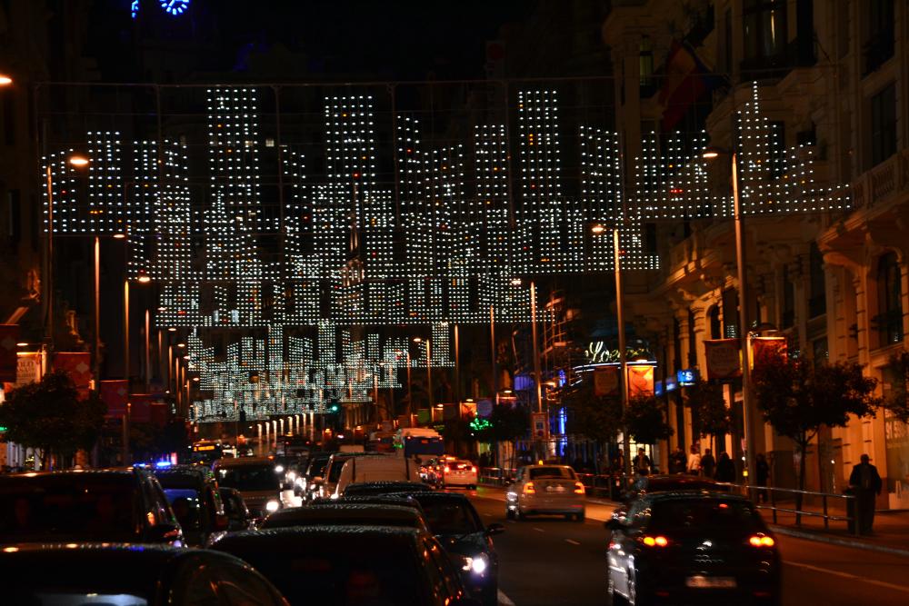 Strada Gran Via a Natale